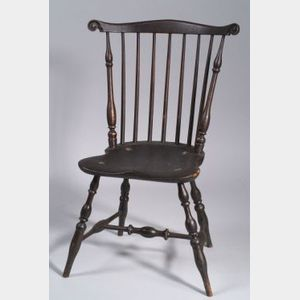 Black Painted Carved Fan-back Windsor Side Chair