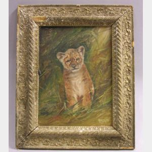 Framed Oil Portrait of a Tiger Cub