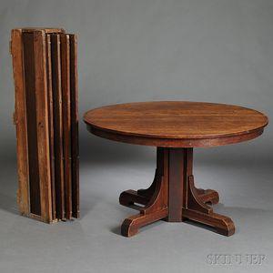 Gustav Stickley Arts & Crafts Pedestal-base Dining Table