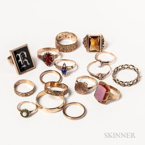 Group of 10kt Gold and Gold-filled Rings