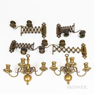 Six Brass Sconces