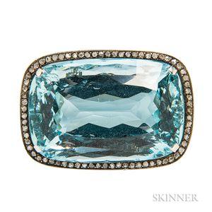 Aquamarine and Diamond Brooch