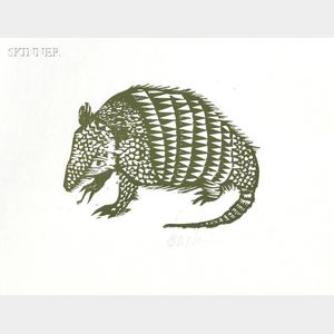 Leonard Baskin (American, 1922-2000)      Five Animal Subjects:  Armadillo
