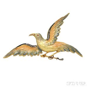 Antique Gold and Enamel Bird Brooch