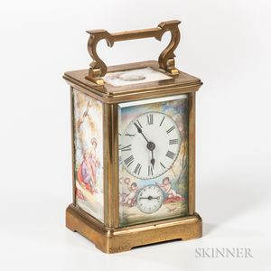 Painted Porcelain Paneled Carriage Clock