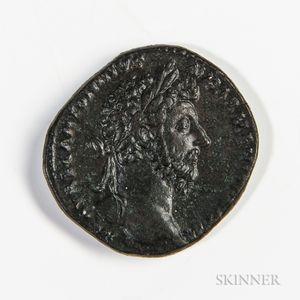 Roman Empire, Marcus Aurelius Orichalcum Sestertius, Rome, 163-164 AD