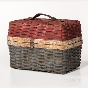 Red-, White-,  and Blue-painted Ash Splint Picnic Basket