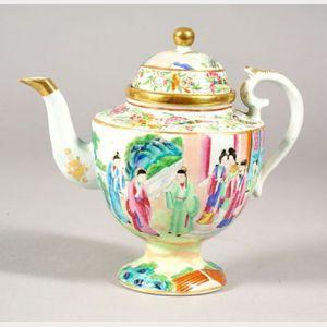 Chinese Export Rose Mandarin Porcelain Teapot
