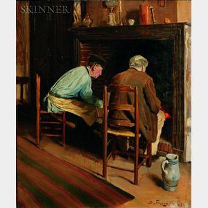 Nils Forsberg, Jr. (Swedish, b. 1870)    Warming by the Fire