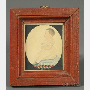 Justus DaLee (New York, Massachusetts, and Connecticut, 1793-1878)      Portrait of a Baby Seated on Pillow Holding a Rattle.