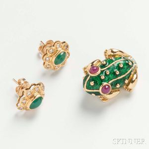 18kt Gold, Enamel, and Ruby Frog Brooch and a Pair of Emerald and Diamond Earrings