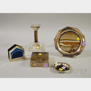 Five Silver Plated and Agate Table and Serving Items