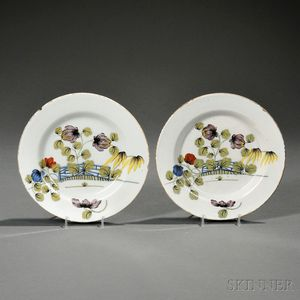 Pair of Liverpool Delftware Fazakerley Decorated Plates