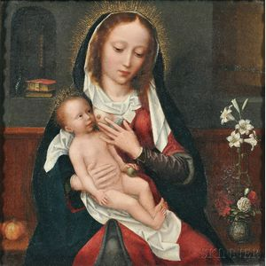 Attributed to Adriaen Isenbrant (Flemish, 1490-1551)      Madonna and Child in an Interior