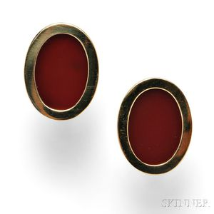 18kt Gold and Carnelian Cuff Links, Tiffany & Co.