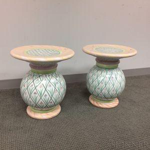Pair of MacKenzie-Childs Ceramic Pedestals