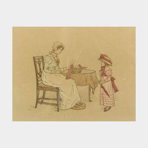 Attributed to Kate Greenaway (British, 1846-1901)  Knitting