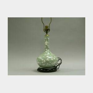 Chinese Celadon Porcelain Bottle-form Table Lamp.