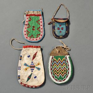 Four Plains U-shaped Beaded Hide Pouches