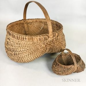 Two Woven Splint Buttocks Baskets