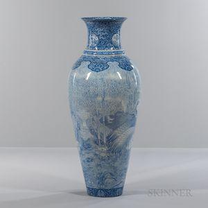 Blue and White Fukagawa Temple Urn