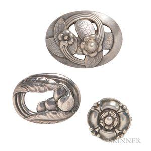 Three Silver Brooches, Georg Jensen