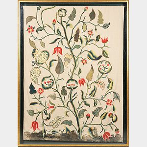 English Crewelwork Embroidered Panel