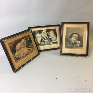 Two Framed Currier & Ives Lithographs and a Reproduction
