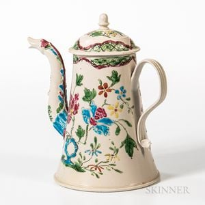 Staffordshire Enamel-decorated Salt-glazed Stoneware Coffeepot