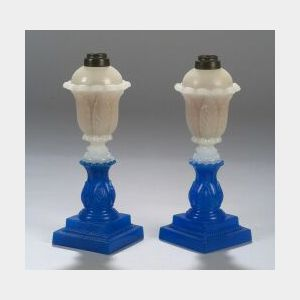 Pair of Blue and Clambroth Pressed Glass Fluid Lamps