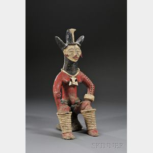 African Polychrome Pottery Figure