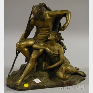 19th/20th Century Continental Gilt Cast Bronze Allegorical Figural Group