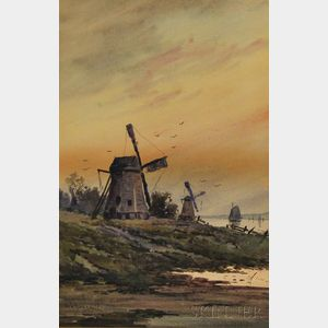 W.F. Dell (American, 19th/20th Century)      Landscape with Windmill