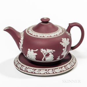 Wedgwood Crimson Jasper Dip Teapot and a Stand