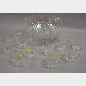 Heisey Colorless Pressed Glass Punch Bowl with Twelve Cups and a Ladle.