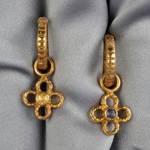 18kt Gold and Sapphire Earpendants, Loree Rodkin