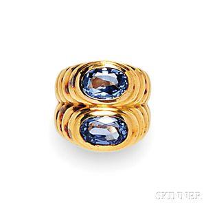 18kt Gold and Sapphire Twin-stone Ring, Bulgari