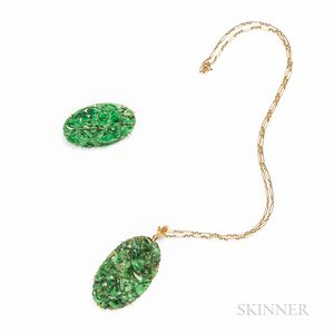 14kt Gold and Jadeite Pendant and Brooch