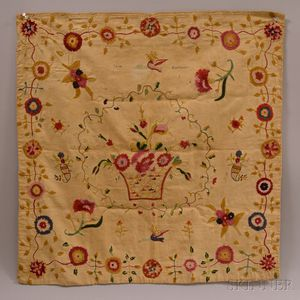 Embroidered Linen Table Covering