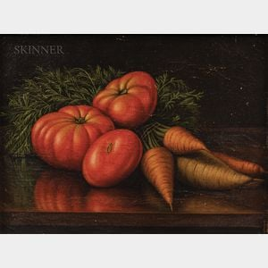 Levi Wells Prentice (American, 1851-1935)      Still Life with Tomatoes, Carrots, and a Parsnip