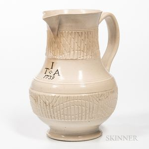 Staffordshire White Salt-glazed Stoneware Jug