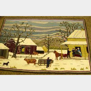 Currier & Ives Winter Barnyard Scene Hooked Rug.