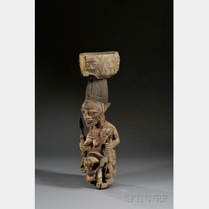 African Carved Wood Shrine Figure