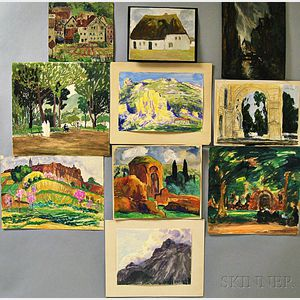 Frank Simon Hermann (American, 1866-1942)      Ten Works on Paper, Mainly European Landscapes Sketches