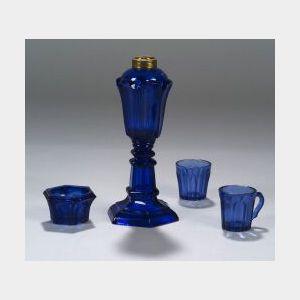 Four Cobalt Blue Pressed Glass Items