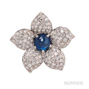 18kt White Gold, Sapphire, and Diamond Flower Pendant/Brooch