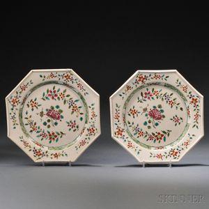 Pair of Staffordshire Enameled Salt-glazed Stoneware Plates