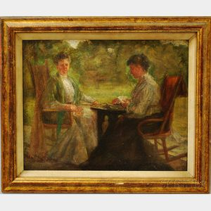 American School, 19th/20th Century       Two Women Playing Cards