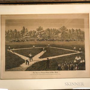 Framed Ackerman & Son Aquatint The American National Game of Base Ball