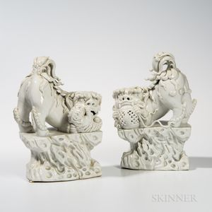 Pair of Blanc-de-Chine Foo Dogs